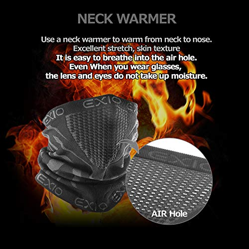 51D7LqzZ6AL - EXIO Winter Neck Warmer Gaiter/Balaclava (1Pack or 2Pack) - Windproof Face Mask for Ski, Snowboard