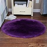 La alfombra Sencillez Redonda imitación de Piel de Lana Silla de la computadora Ronda de Noche Dormitorio Manta HAODAMAI (Color : B, Size : 80cm)