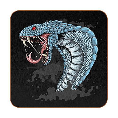 Posavasos Cobra Azul Feroz Posavasos de Cuero 6 Piezas impresión Coasters Antideslizante para Café Bebida Té Vino Cerveza 10.3x10.3 cm