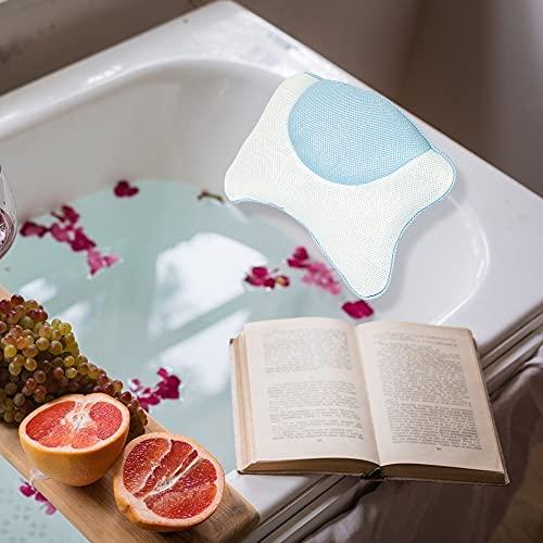 Wishstar Almohada BañEra,Cojin BañEra con 4 Ventosas,Reposacabezas BañEra Antideslizante,Bathroom Accessories para Baño Relajante,Hidromasaje(Azul)