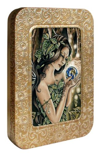 Tree-Free Greetings Noteables Notecards In Reusable Embossed Tin, 12 Card Assortment, Recycled, 4 x 6 Inches, The Green Fairie, Multi Color (76042)