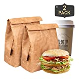 Lunch Bags, 2 Packs of Reusable Brown Paper Bag Tyvek Insulated Eco-friendly Lunch Box Waterproof, Leakproof and Lightweight Snack Bags for Men, Women and Kids(6L)