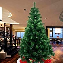 8 feet Needle Pine Christmas Tree Artificial with LED Light and Pack of Ornaments for Decoration