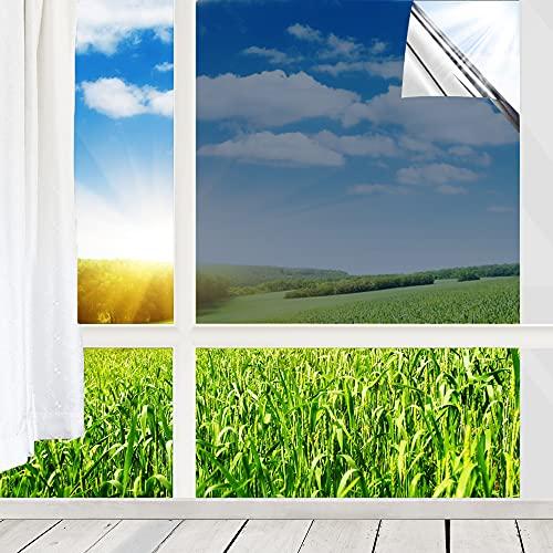 Fenster Spiegelfolie Selbstklebend Sonnenschutzfolie Innen Dachfenster 99%UV-Schutz Fensterfolie, 60x200 cm Silber