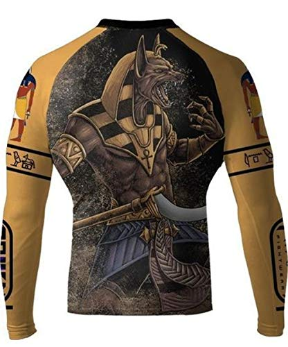 Raven Fightwear Gods of Egypt Anubis Yellow Rash Guard Men's Compression Tight Base Layer No-Gi MMA BJJ Grappling Wrestling Training Fitness Workout