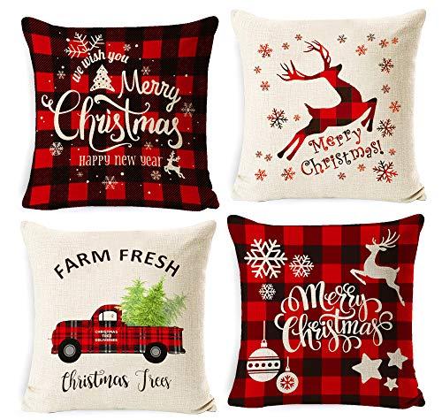 Sunshine smile Weihnachten Kissenbezug 4 Pack,Weihnachten Kissenbezug dekokissen,Weihnachten dekorative kissenhülle,Kissenbezug Weihnachten 45x45,Winter dekokissen