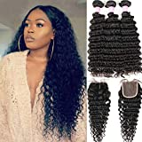 Brazilian Deep Wave 8A Unprocessed Virgin Hair 3 Bundles with Middle Part Lace Closure 44 Lace Mixed Length Hair Bundles Natural Color or Black Women (28 28 28+20)