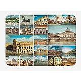 Balance-Life Tappetino da bagno Italiano, Collage di città Italiana con dettagli monumentali classici Coliseum Mediterranean City