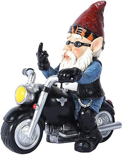 Gartenzwerg Lustig Mittelfinge,Gartenzwerge Deko Figuren Statue Skulptur Zwerg Stinkefinger, Motorrad Geschenke Für Männer