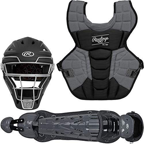 Rawlings Velo 2.0 Intermediate NOCSAE Baseball Protective Catcher's Gear Set, Black and Graphite (CSV2I-B/GPH)