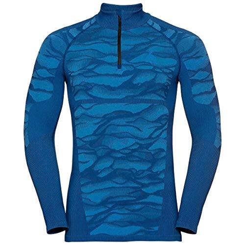 Odlo T-Shirt à Manches Longues pour Homme BL-Top Turtle Neck Blackcomb - Bleu, Noir M Bleu