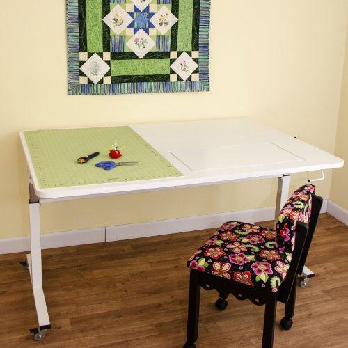 Kangaroo Kabinets Tasmanian Height Adjustable Sewing Table, White