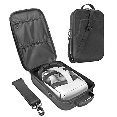 Esimen Fashion Travel Case for Oculus Quest 2 VR Gaming Headset Elite Strap and Controllers Accessories Carrying Bag (Black)