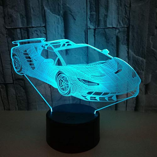 Lámpara De Mesa De Regalo 3D Con Patrón De Coche Deportivo De Acrílico Creativo, Luz De Noche Con Usb Táctil 3D De Cambio De Color Colorido Led
