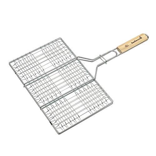 barbecook Hamburger Korb Fischbräter Edelstahl Grill-Zubehör Grillfläche, Silber, 52x3x36 cm