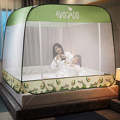 XINWANG Foldable Bed Net Tent,simple Grid Pattern Mosquito Net Single Bed Mosquito Net 1.2m-2m Baby Room Yurt Mosquito Net Sanmen,Green-120 * 200cm