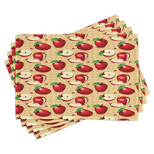 Lunarable Apple Place Mats Set of 4, Red Apples Whole and Sliced on Wicker Natural Wood Background Graphic Print, Washable Fabric Placemats for Dining Room Kitchen Table Decor, Brown Green