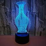 BFMBCHDJ Neue Vase Bunte 3D Lampe Valentinstag Geschenk Touch Fernbedienung 3D Visuelle Led Kleine Tischlampe Dekoration Nachtlicht A4 Weiß riss basis + fernbedienung
