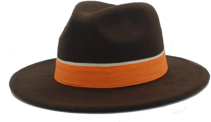 LHZUS Hats Men Women Winter Fedora Hat with Orange Cloth Belt Panama Hat Wide Brim Church Fascinator Hat Size 56-58CM (Color : Dark Coffee, Size : 56-58)