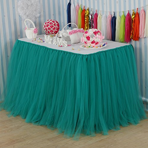 vLovelife 100cm Teal Blue Tulle Tutu Table Skirt Tableware TableCloth Party Baby Shower Birthday Wedding Decorations Favor Customized Size Available