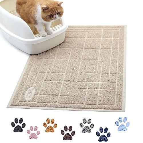 VIVAGLORY Katzenstreu Matte Groß 90 × 60cm, Katzenklo Matte zum Abfangen von Katzenstreu, strapazierfähige & wasserdichte, Beige