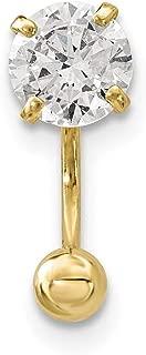 Lex & Lu 14k Yellow Gold 18 Gauge CZ Eyebrow Jewelry BD126