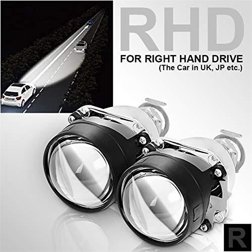 HXFANG 2pcs 2.5 Pulgadas Bi Xenon HID Lente del proyector Negro Plata Sábana H1 H4 H7 Xenon LED Linterna del Coche de la Motocicleta (Color : 2xRHD Without Shroud)