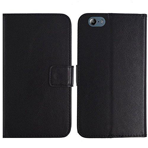 TienJueShi Schwarz Flip Book-Style Brief Leder Tasche Schutz Hulle Handy Hülle Abdeckung Fall Wallet Cover Etui Skin Fur Maze Blade 4G Phablet 5.5 inch