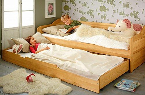 BioKinder 23903 Nico Schlafsofa Funktionsbett Kojenbett mit Bettkasten und Lattenroste aus Massivholz Erle 90 x 200 cm