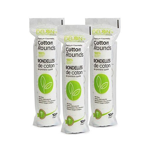 DELON Premium Cosmetic Cotton Rounds, 300 count