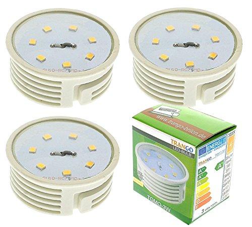 Trango 3er Set 3 Watt LED Modul 3000K warmweiß 3TGMO-3W direkt 230V Ultra flach 25mm Tief, zum Austausch Halogen Leuchtmittel mit GU10, MR16, GU5.3 Fassung, Einbaustrahler, Deckenlampe