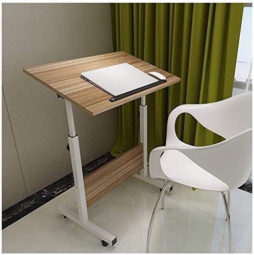 RH-HPC Mesa plegable para sobrecama, escritorio pequeño para ordenador, portátil, altura ajustable con 4 ruedas bloqueables, (color: Iger, tamaño: 60 x 40) (color: roble antiguo, tamaño: 80 x 50)