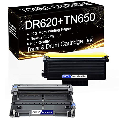 2-Pack (1-Pack TN-650 Toner, 1-Pack DR-620 Drum) Compatible Toner & Drum Cartridge Replacement for Brother HL-5350DNLT HL-5370DW HL-5370DWT HL-5380DN MFC-8370 MFC-8460N MFC-8470DN DCP-8080DN Printers.