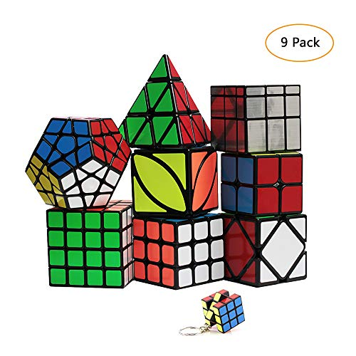 Speed Cube Set 8 Pack 2x2 3x3 4x4 Speed Cube ,Megaminx Pyramid Skewb lvy Cube Mirror Cube Smooth Speedcubing Magic Cube Puzzle for Adults and Kids, for 3x3 Cube Keychain (9 Pack)