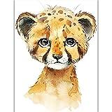 Hengdeqiangk Aquarelle Animal Affiche mignon éléphant tigre dessin animé jardin d'enfants chambre peinture décorative bébé décor adorable peinture maison jardin peinture pas cher peinture Hengdeqiangk