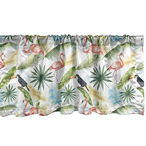 """Ambesonne Hawaiian Window Valance, Watercolor Tropical Pattern with Toucan Parrots Flamingo Birds and Jungle Leaves, Curtain Valance for Kitchen Bedroom Decor with Rod Pocket, 54"""" X 12"""", Green Pink"""