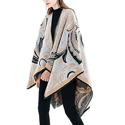 Women's Winter Stripe Pattern Shawl Vintage Blanket Long Tartan Coat Wrap Cozy Shawl