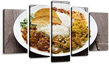 XEPPO sri Lankan Rice and Curry Dish Prints Canvas Wall Art Abstract Landscape Photography Paintings for Modern Home Decor 5Pcs Modern Stretched and Framed