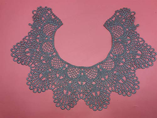 1pc Embroidery Round Ripple Neck African Lace Fabric Collar,DIY Handmade Lace Fabrics for Sewing Crafts (Gray)