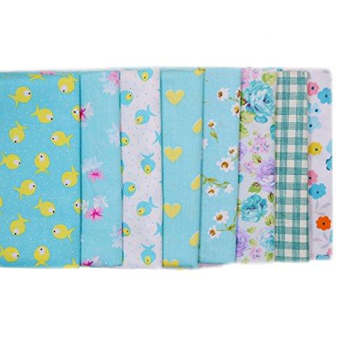 Isabelle–Juego de 7pcs 50* 50cm tela en algodón costura tejido artesanía paquetes Quilt Tejido Patchwork DIY Material pequeño point-multicolore/serie azul