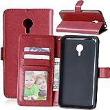 Wenlon Handy PU Hülle für Meizu MX4 Pro, Hochwertige Business Kunstleder Flip Wallet Handyhülle mit Card Slot Funktion, Bracket Funktion - Brown