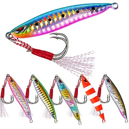 Goture Lead Vertical Jig - 0.71oz/1.06oz Freshwater & Saltwater Jigging Lures, Boat Metal Artificial Spoon Fishing Lures - Pack of 6