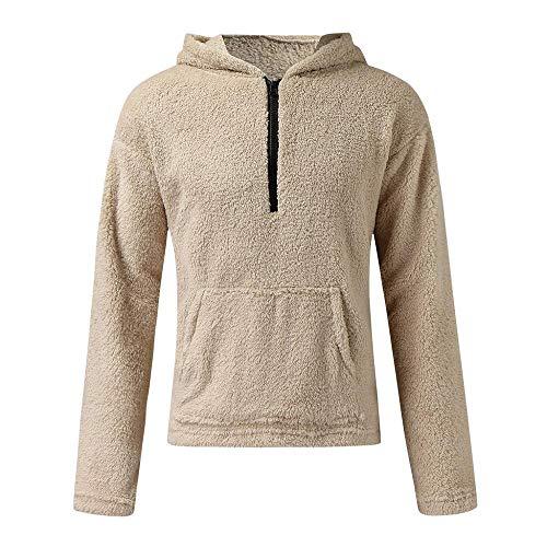 YEBIRAL Pullover Herren Hoodie Herren Kapuzenpullover Plüsch Hoodie Sweatshirt Teddy-Fleece Pullover mit Zip und Taschen
