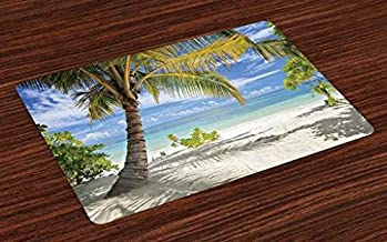 Ambesonne Palm Tree Place Mats Set of 4, Tropical Sandy Beach with Palm Trees Maldives Coastline Peaceful Theme, Washable Fabric Placemats for Dining Room Kitchen Table Decor, Coconut Blue