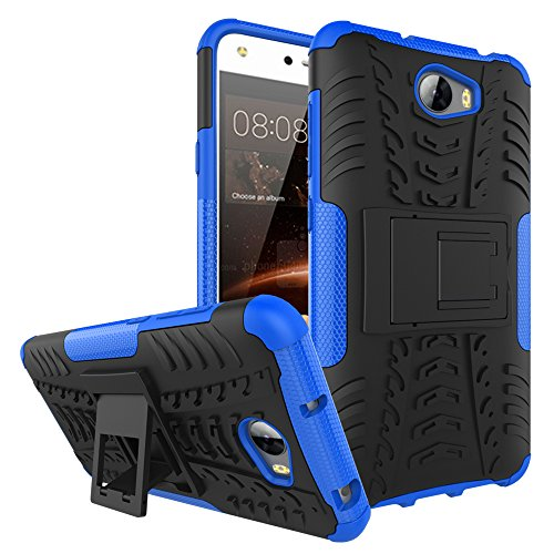 Huawei Y5 II/Huawei Y5 2 Funda, FoneExpert® Heavy Duty silicona híbrida con soporte Cáscara de Cubierta Protectora de Doble Capa Funda Caso para Huawei Y5 II/Huawei Y5 2 (Blue)