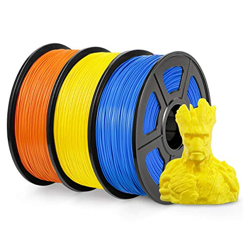 PLA Filament 1.75mm, SUNLU PLA plus Filament for 3D Printer, Dimensional Accuracy +/- 0.02 mm, PLA+ Yellow+Orange+Blue 1KG