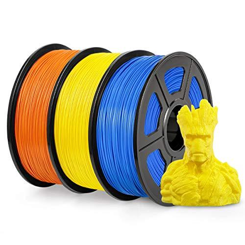 PLA Filament 1.75mm, SUNLU PLA plus Filament for 3D Printer, Dimensional Accuracy +/- 0.02 mm, PLA+ Yellow+Orange+Blue 1KG
