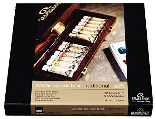 Rembrandt Watercolor Paint Wood Box Traditional Set, 12 Tubes + 2 Accessories, General Color Selection