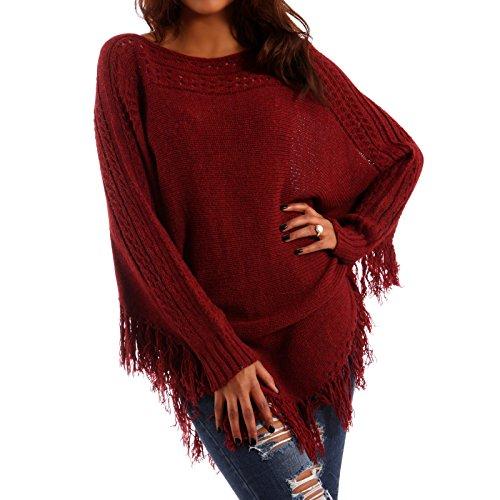 Made Italy Damen Pullover Ponchopullover Hippie Fransen, Farbe:Rot;Größe:One Size