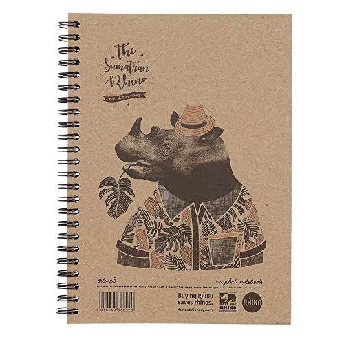 Rhino - Cuaderno de tapas duras (A5, reciclado), Save the Rhino